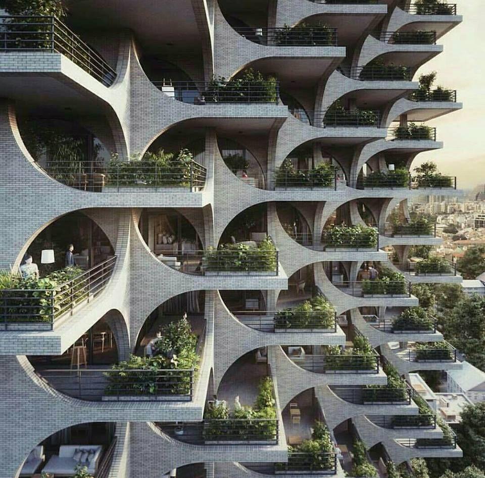Futuristische Architektur Fassaden Hochhaus Haus Design Innovativ Entwurf Elemente Struktur Balkon