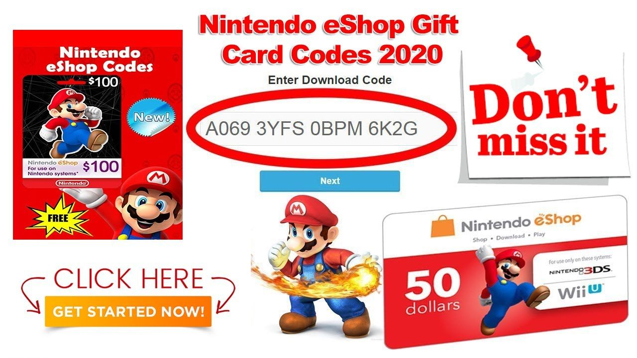Free Nintendo Eshop Gift Card Codes 2020 100 Nintendo Switch Gift Card Nintendo Free Wii