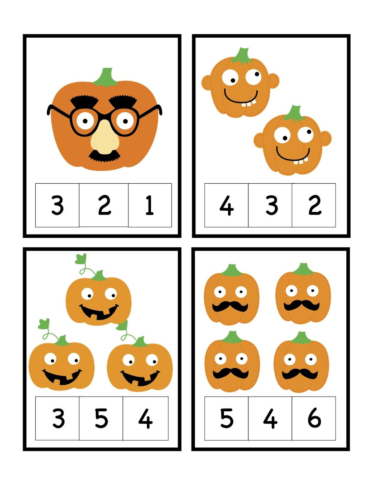 Preschool Printables Halloween Pumpkin Number Cards