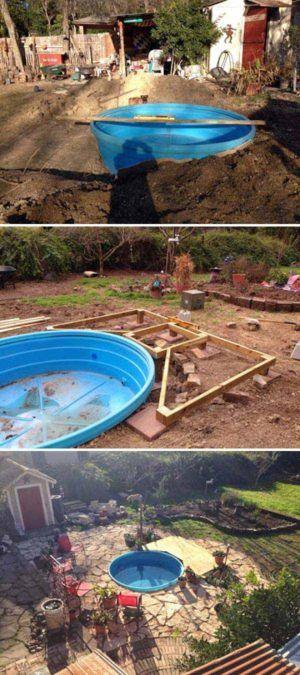 Diy Galvanized Stock Tank Pool To Beat The Summer Heat Backyard Pool Landscaping Simple Pool Stock Tank