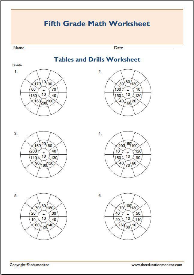 Time target circle math worksheet   Fifth Grade Worksheets ...