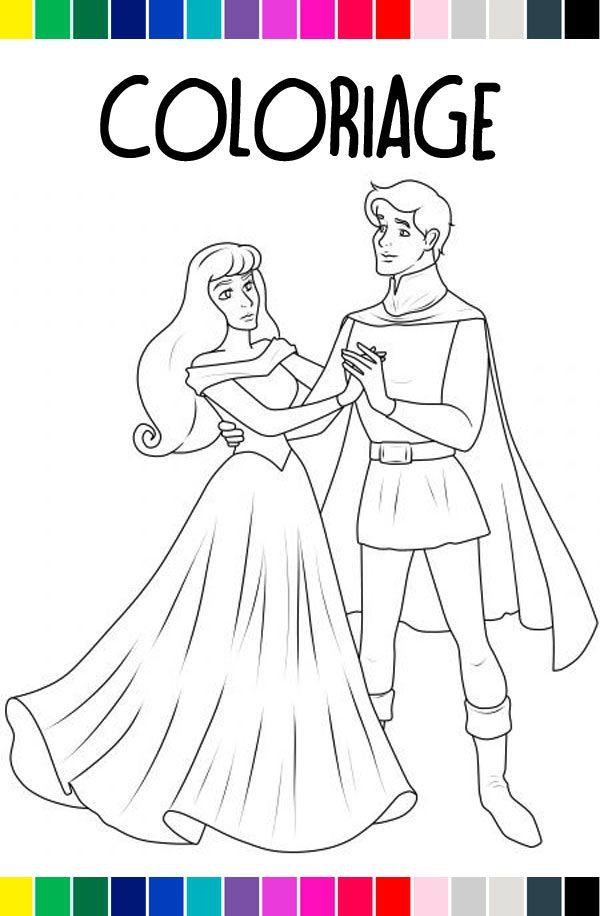 Coloriage à Imprimer La Belle Au Bois Dormant Et Le Prince