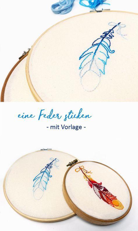 Bestickt. Ich mach mal was mit Nadeln {mit Vorlage zum Ausdrucken #embroiderypatternsbeginner