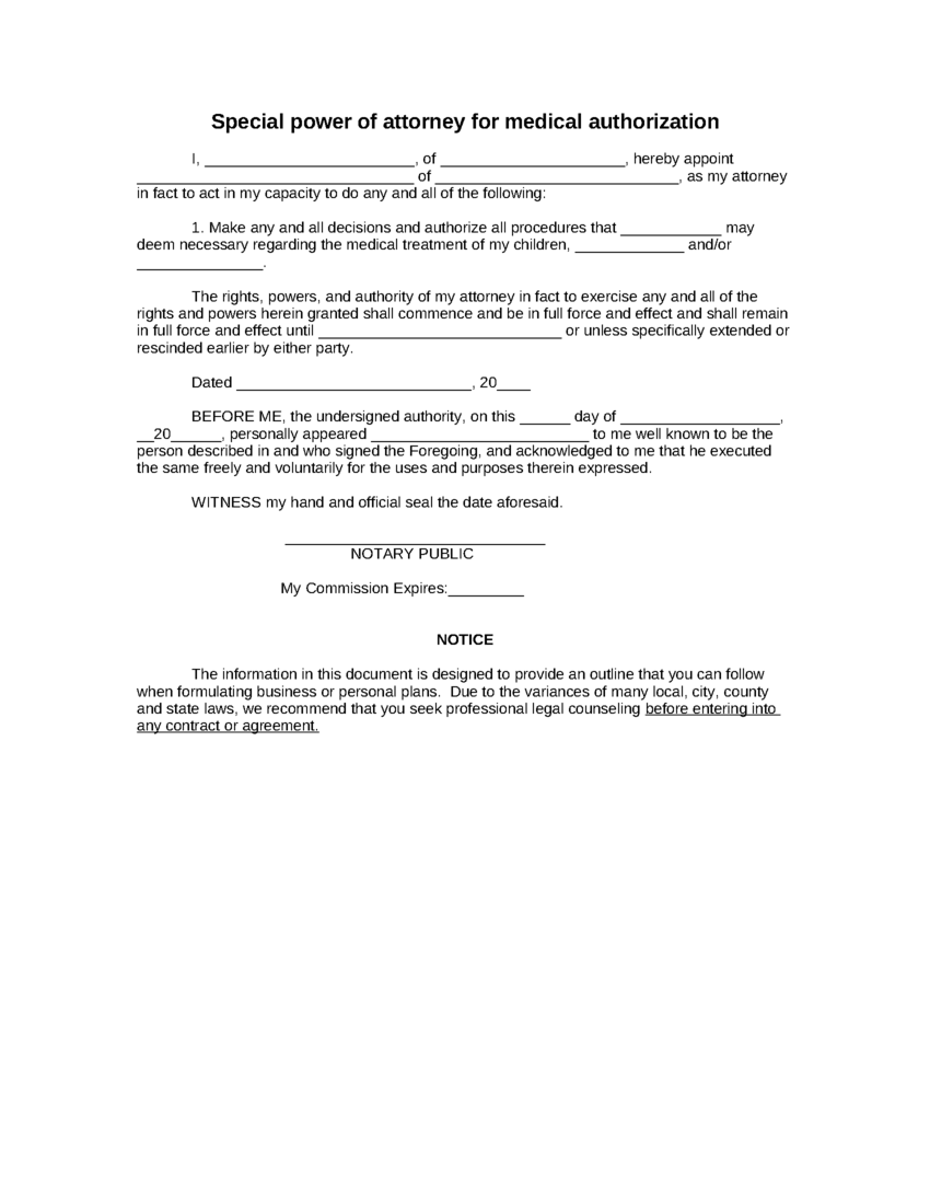 Sample Special Power Of Attorney For Medical Authorization Form ...   Power  Of Attorney