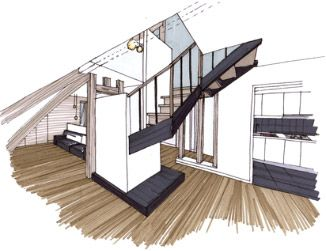 Croquis architecture int rieure recherche google for Interieur maison d architecte