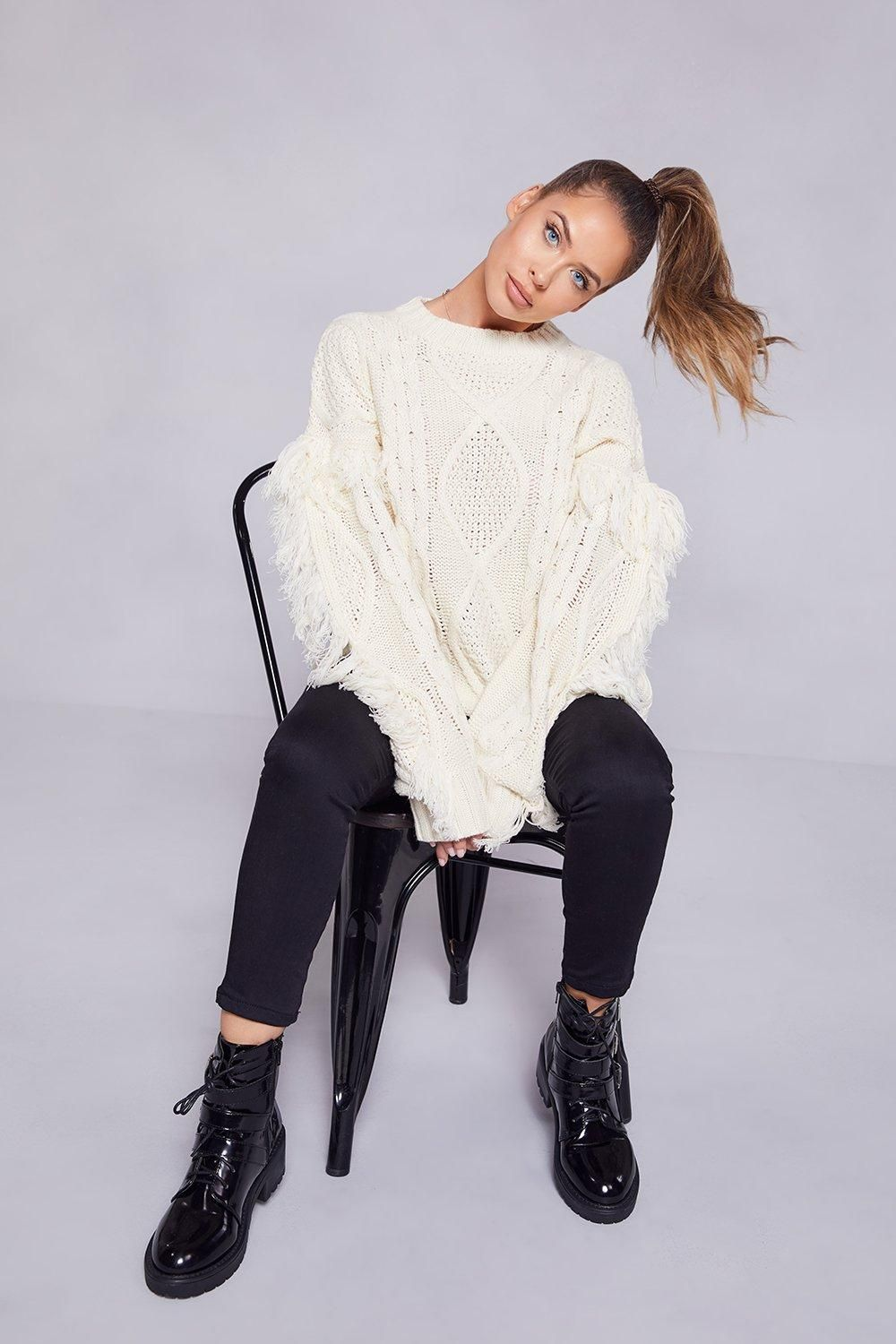 264a0a71cc Cable Fringe Knit Jumper