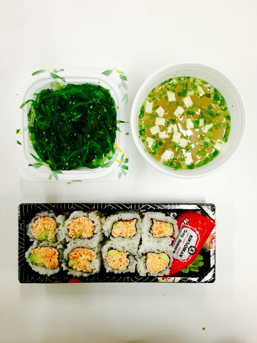 {Dinner Mar 15} Spicy California Mali with chucka wakame and miso soup, all from Albertsons in East Village, San Diego. Feeling treated
