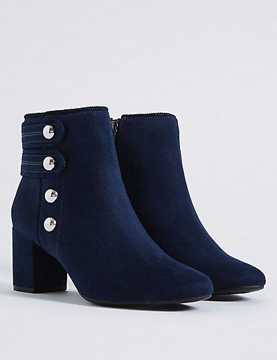 Wide Fit Block Heel Four Button Ankle