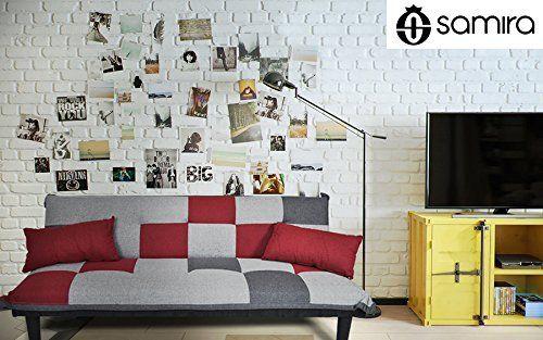 Divano letto in tessuto grigio scuro - rosso - grigio chiaro - Divanetto 3 posti mod. Russell: Amazon.it: Casa e cucina