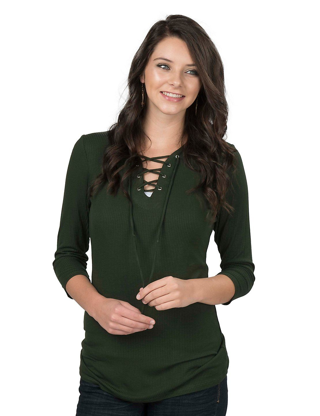 5cf21f294632d Jody Women s Green Lace Up Front 3 4 Sleeve Ribbed Fashion Top ...