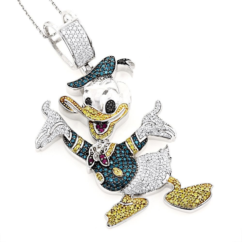Luxurman 10k white gold 4 110ct tdw diamond donald duck pendant luxurman 10k white gold 4 110ct tdw diamond donald duck pendant h i aloadofball