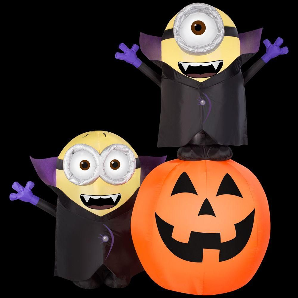 73 62 In W X 55 In D X 77 95 In H Inflatable Lighted Gone Batty Minion Pumpkin Scene Halloween Outdoor Decorations Minion Pumpkin Halloween Inflatables