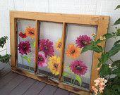 Photo of Painted window with zinnias