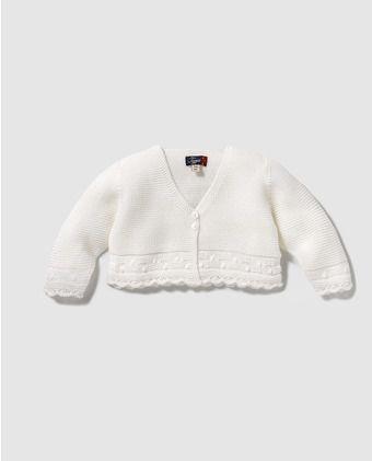 b30dcc56e Chaqueta de bebé niña Tizzas de perle en blanco