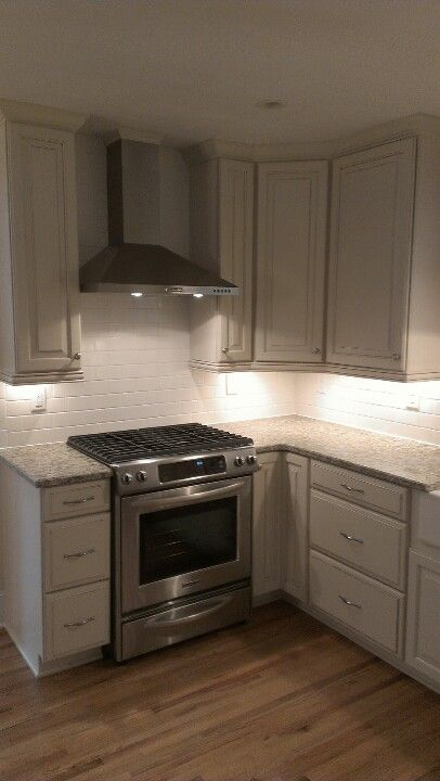 Timberlake Cabinets With Stainless Liances And Subway Tile Backsplash Nice Under Cabinet Lighting Love