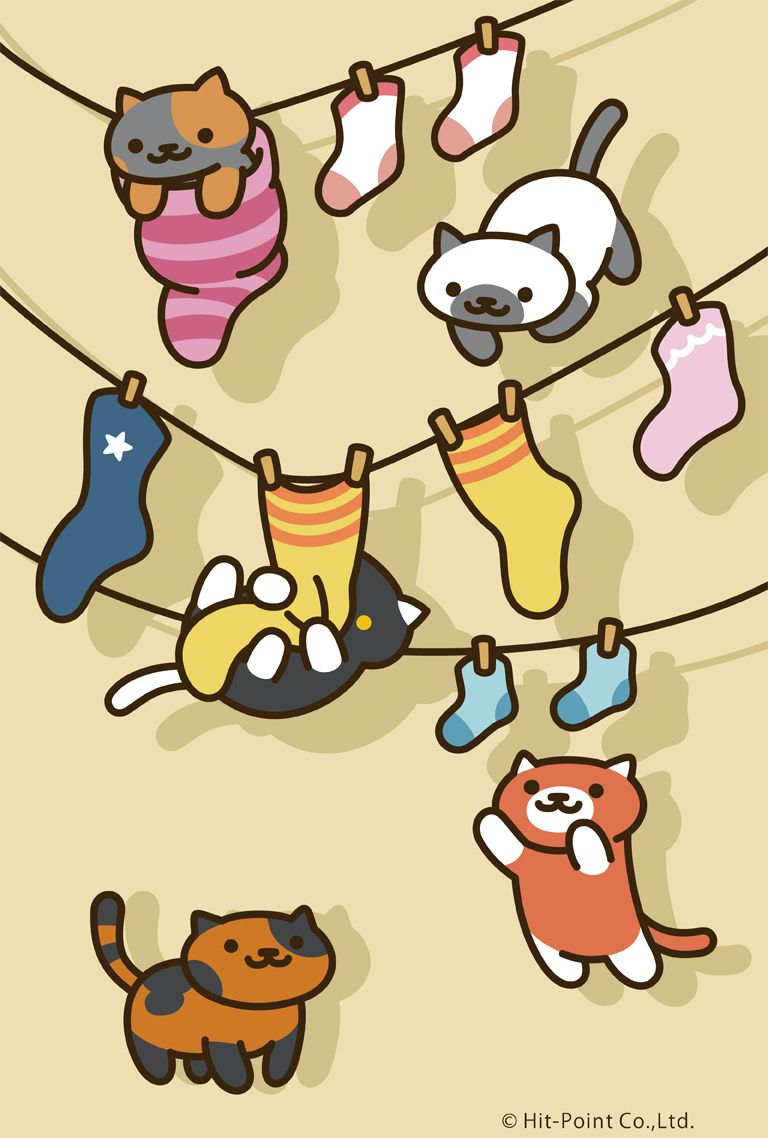 neko atsume spooky marshmallow socks ginger spud clothesline phone wallpaper