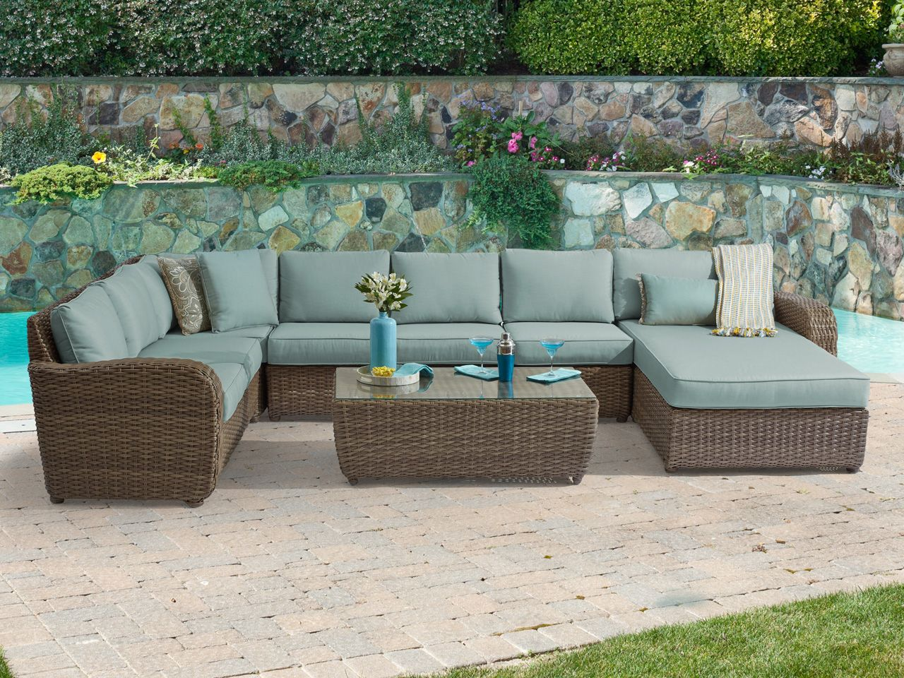 Biscayne 6 Pc Aluminum Resin Wicker Sectional Group Fortunoff