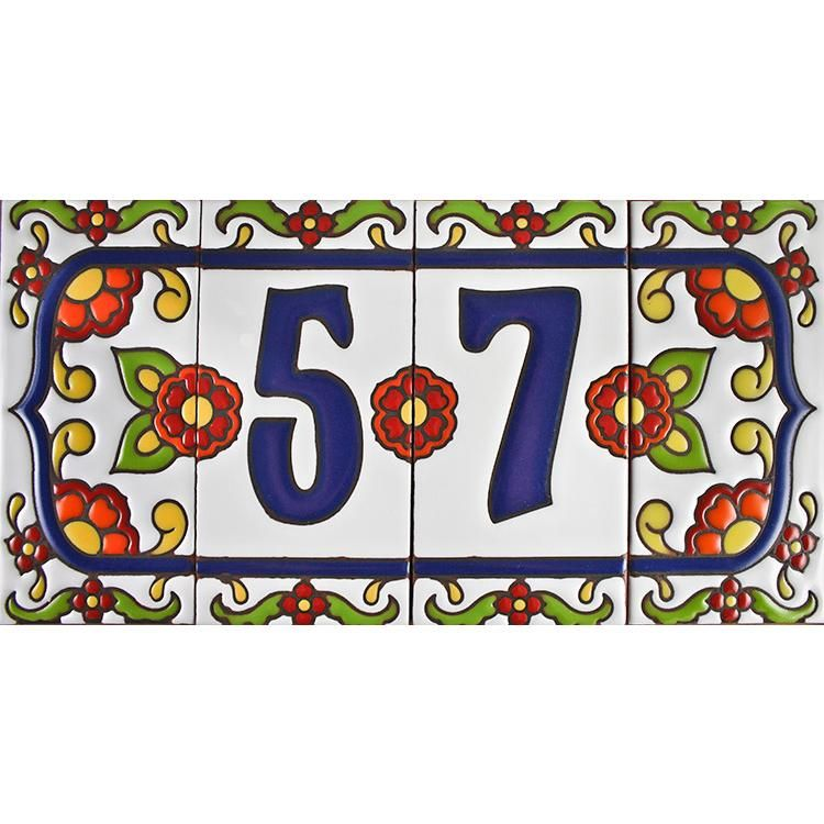Decorative Tile House Numbers House Numberswhite Talavera  Talavera Tiles  Pinterest  House