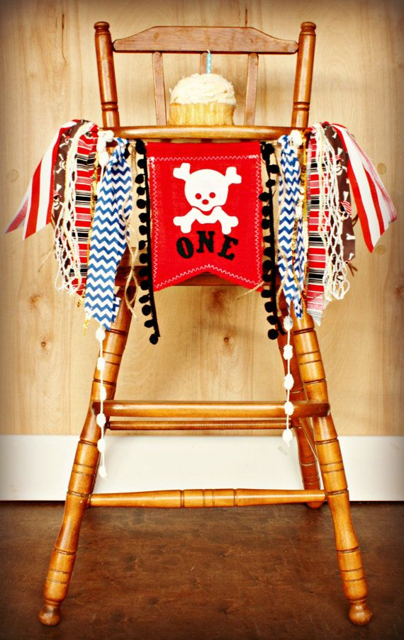 Pirate ONE Age High Chair Birthday Party Banner Sign Red Black Silver