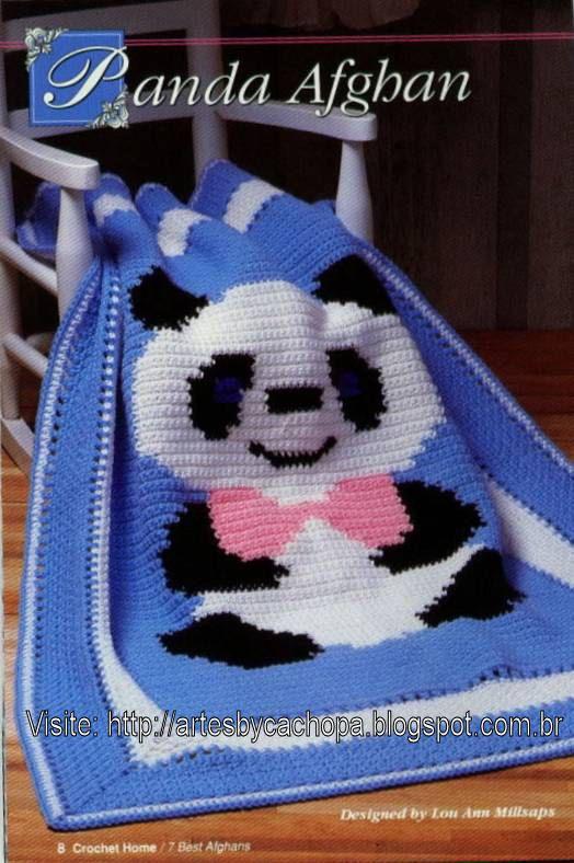 Artes by Cachopa - Croche & Trico: Croche - Manta infantil - Panda afghan