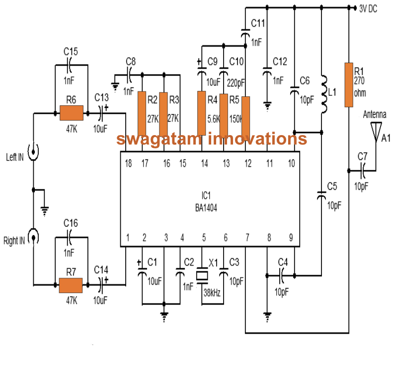 the following posts explains a simpe to build fm stereo transmitter circuit using ic ba1404  an