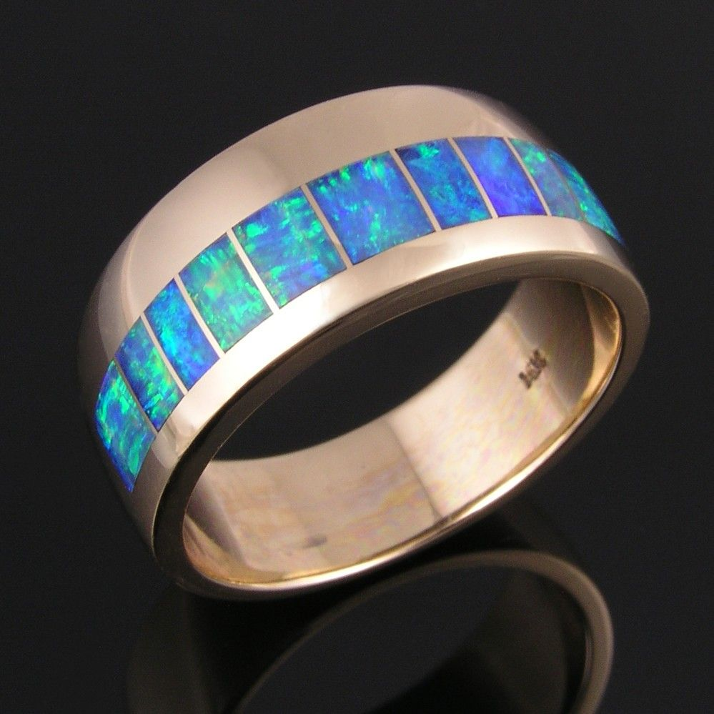 Xmas 6MM Men Tungsten Carbide Wood Inlay Green Opal Wedding Band