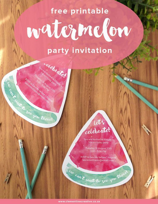 Free Printable Watermelon Party Invites | Summer parties, Party ...