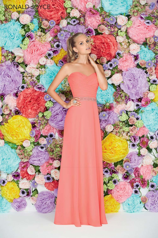 Embellished Peach Bridesmaid Dress From Ronald Joyce