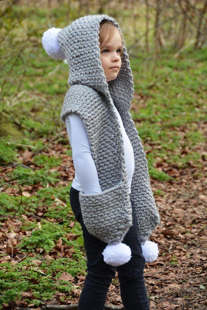 The Snowdrift Hooded Scarf | knitting | Crochet hooded ...