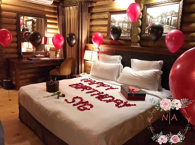 Room decoration for birthday surprise for Bed decoration anniversary