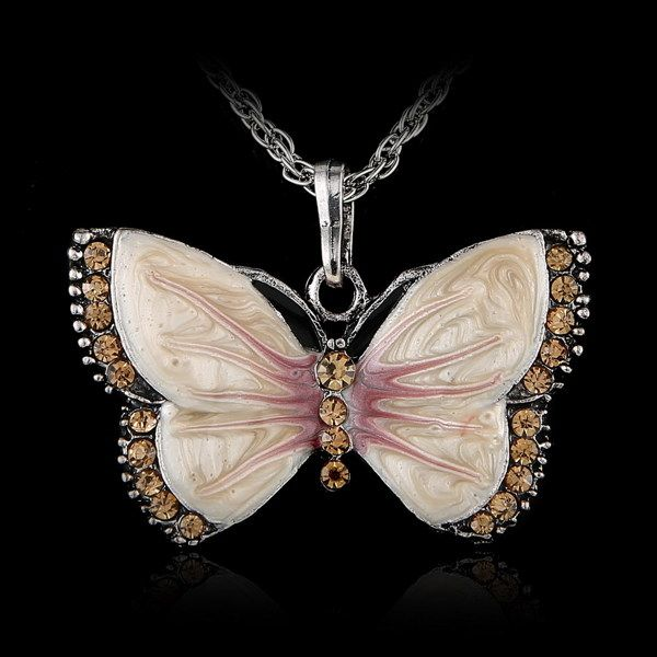 Enamel Butterfly Crystal Pendant Necklace Chain