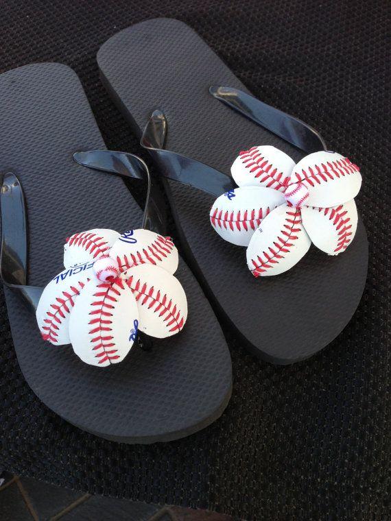 3ee212119 Leather Baseball Flower Flip Flops Mothers by HandmadesByCherie ...