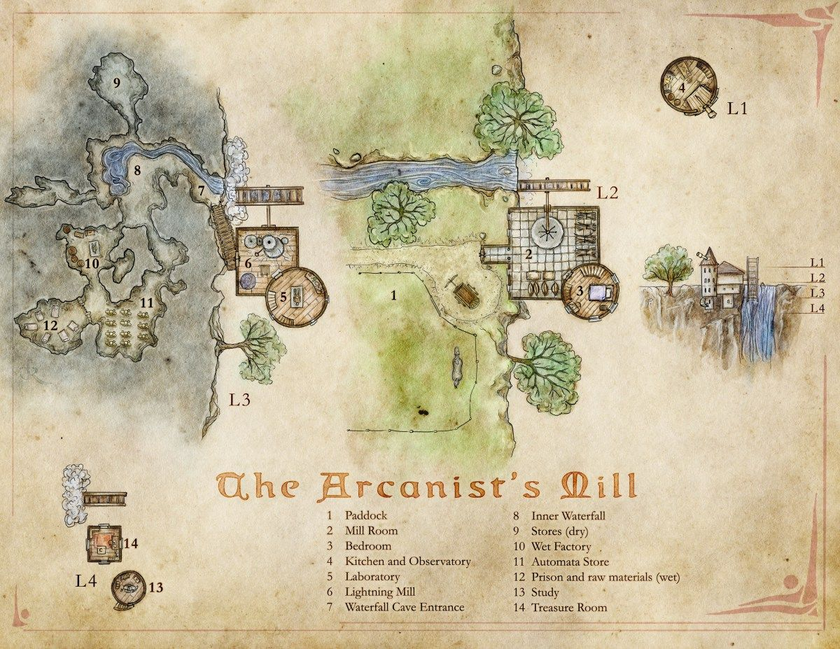 The Arcanist's Mill A Wizard's Tower Map with a Twist