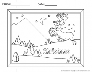 christmas landscape coloring pages