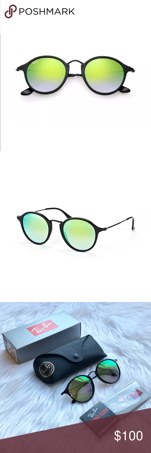 8aca145a17d8 NEW    Ray-Ban RB2447 Round Fleck Sunglasses Authentic Ray-Ban Icons RB2447