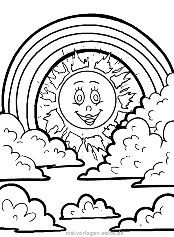 Malvorlage Regenbogen und Sonne - Kostenlose Ausmalbilder