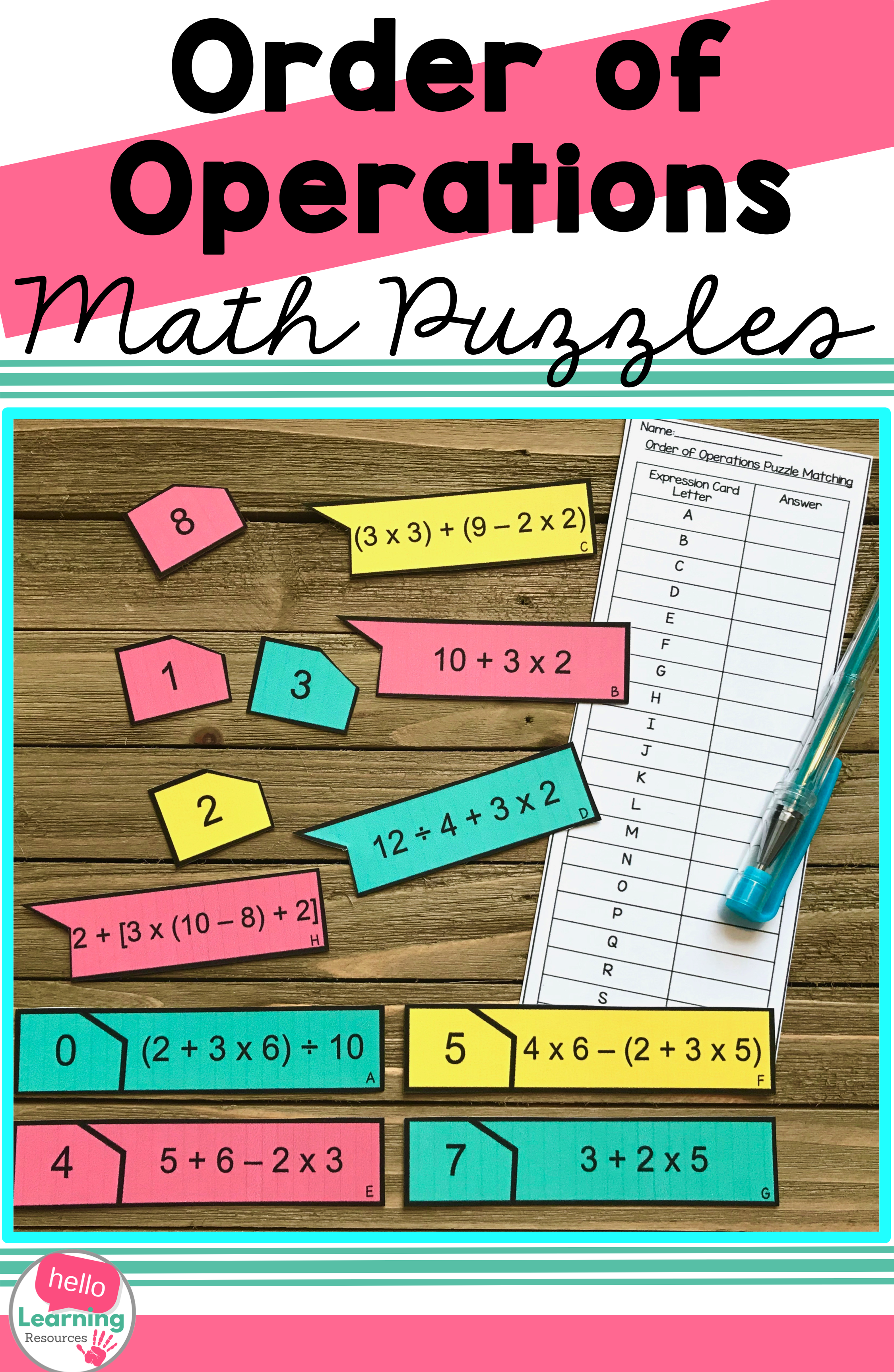 Order Of Operations Matching Puzzles