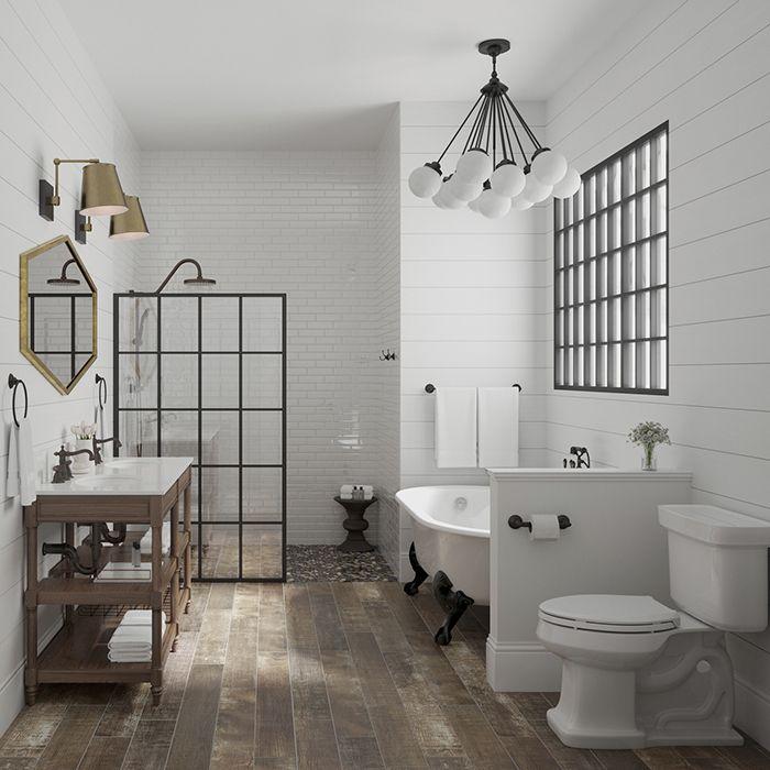 DIY Projects and Ideas in 2020   Modern farmhouse bathroom ... on Rustic Farmhouse Bathroom Tile  id=77342