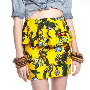 Peplum Skirt Floral Yellow now featured on Fab.