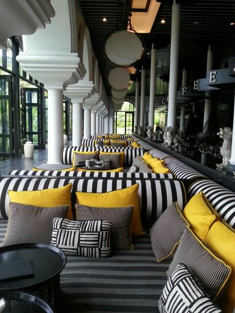 Yellow, black and white patio lounge | Gray patio ... on Black And White Backyard Decor  id=63836