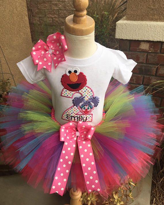 f948b3689 Elmo and Abby Birthday Tutu Outfit Dress Set Handmade Sesame Street ...