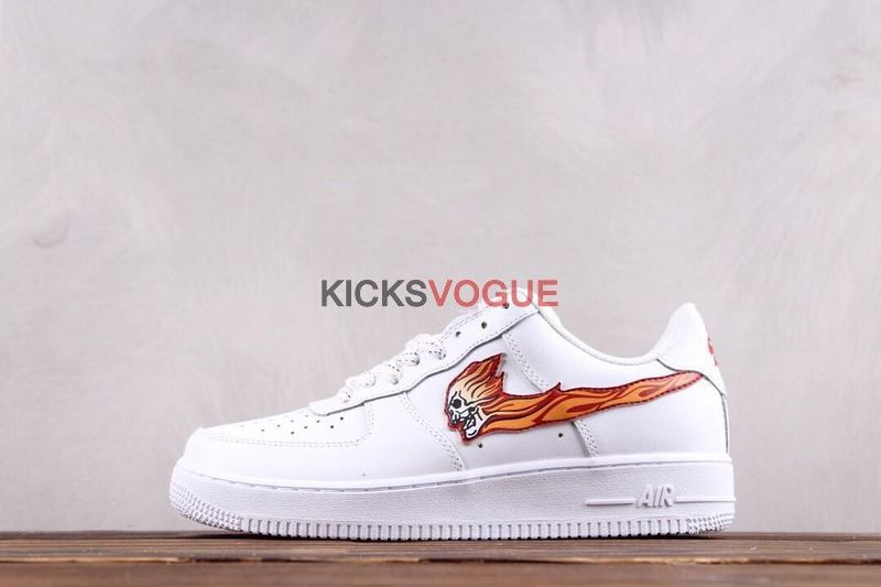 huge discount 77407 3d268 Custom Nike Air Force 1 Low White Skull Flame