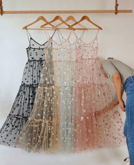 Photo of Bling Bling Star Spaghetti Straps Fashion Women's Dress from dressydances