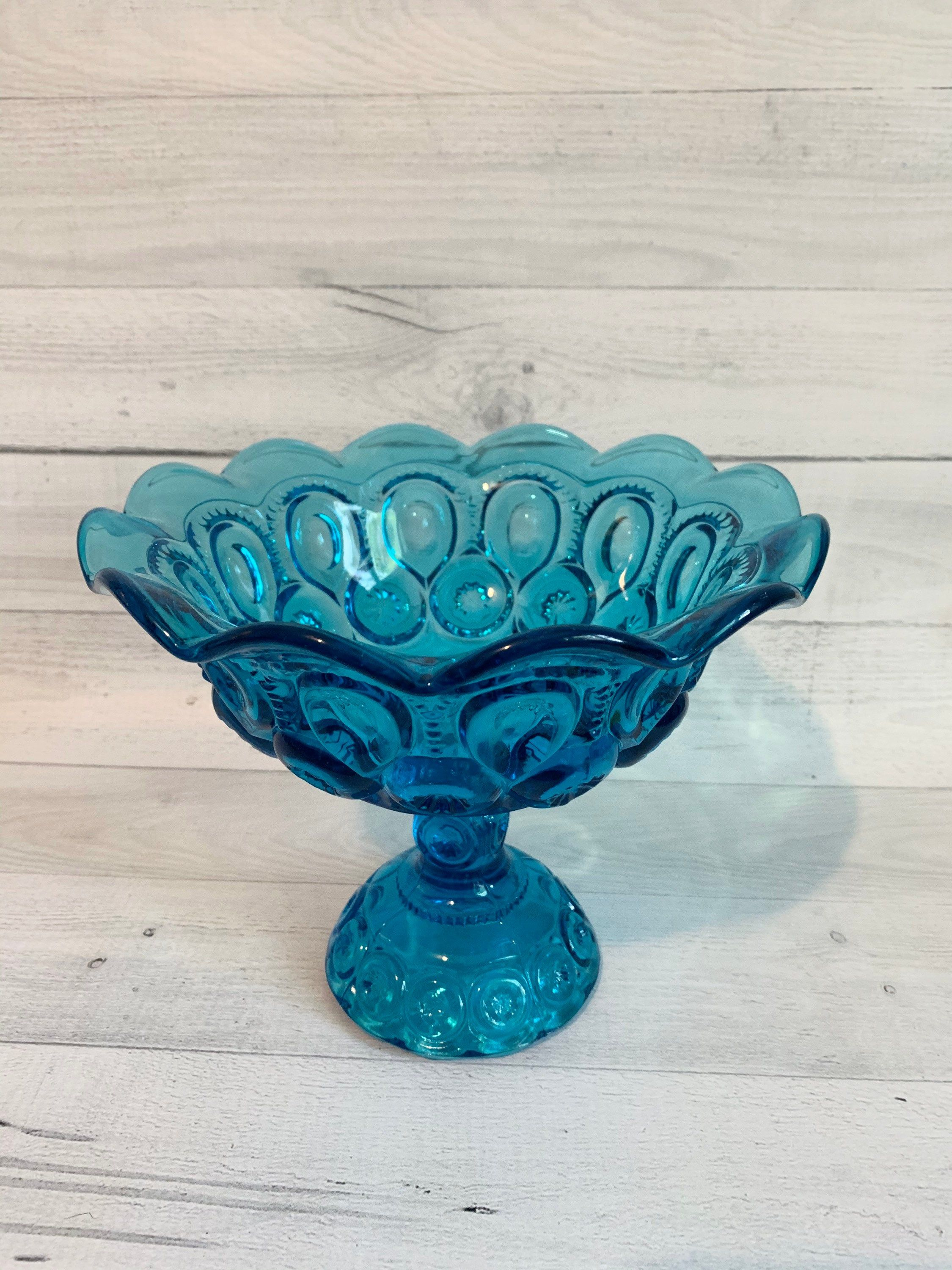 Blue moon and stars compote pedestal bowl le smith moon