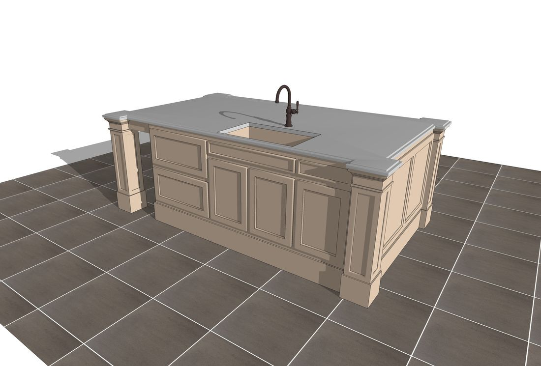 Free 3d Sketchup Kitchen Island Models 3d Rendering Company In 2020 Interior Design Kitchen Interior Architecture Design Kitchen Island