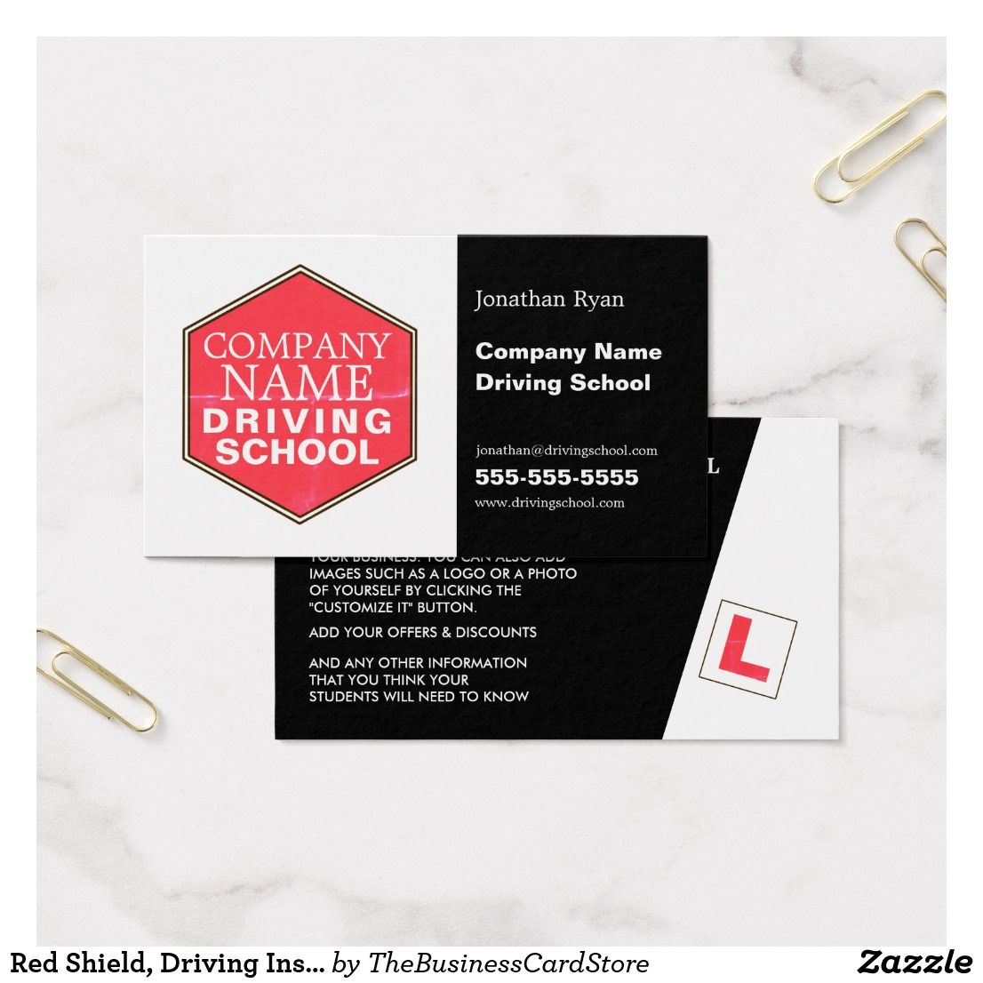 Red Shield, Driving Instructor Business Card | Business | Pinterest ...