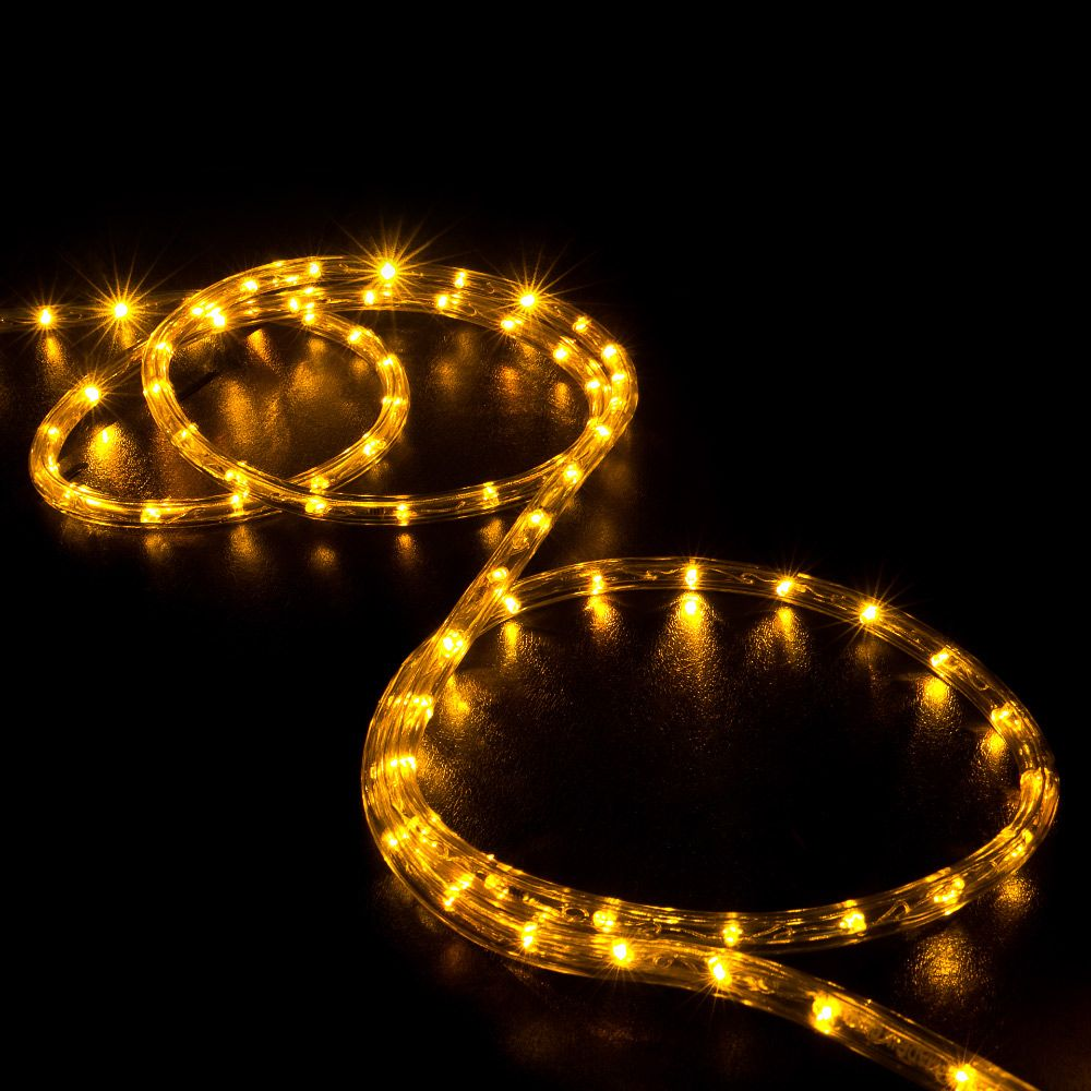 150 Orange Saffron Yellow Led Rope Light Home Outdoor Christmas Lighting