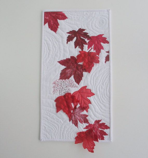 Canada 150 Art Quilt. Red maple leaves have been hand painted onto ... : quilting material canada - Adamdwight.com