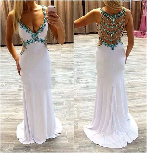 Long Prom Dress, White Prom Dress, Party Prom