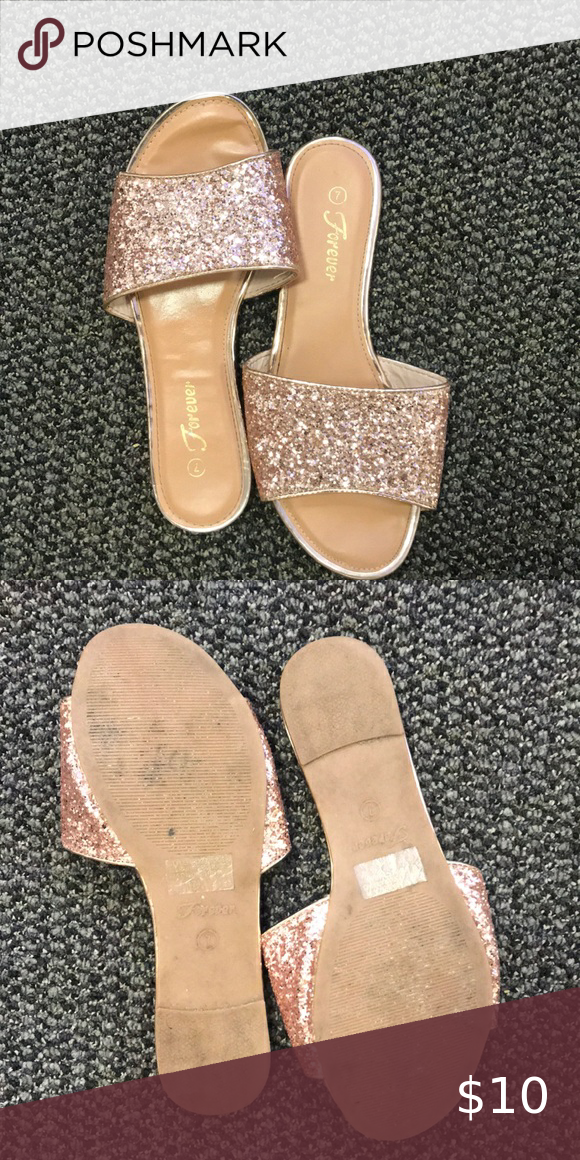 Forever Rose Gold Glitter Sandals in